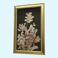 Beautiful Pressed Dried Flowers in Frame Folk Art