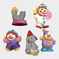 5 Hallmark Cards Happy Birthday Clowns & Circus Animals Miniature Figurines Cake Toppers