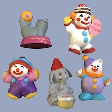 5 Hallmark Cards Happy Birthday Clowns & Circus Animals Miniature Figurines Cake Toppers