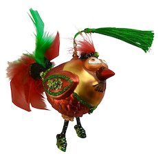 Silly Eccentric Anthropomorphic Bird with High Heels Christmas Glass Ornament
