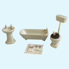 Dollhouse Miniatures Bathroom Tub Towels TP Sink Toilet Porcelain Accessories