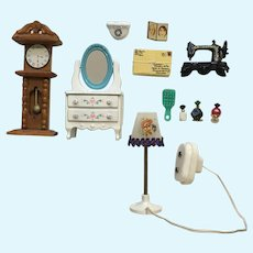 Dollhouse Miniatures West Germany Lamp, Singer Sewing Machine Clock Vanity Accessories
