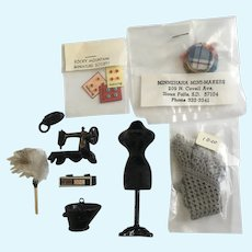 Dollhouse Sewing Room Mannequin Shaw Phone Clock Coal Bucket Buttons Accessories