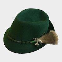 Tyrolean Bavarian Alpine Hat Green Felt and Trachten Gamsbart Hair Whisk Size 57