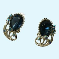 Beautiful Blue Glass Blue Rainbow Beads Clip-on Silver-Tone Earrings Pat Pend