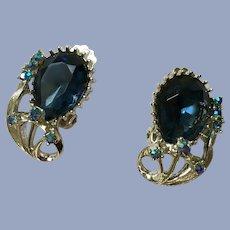 Beautiful Blue Glass Blue Rainbow Beads Clip-on Silver-Tone Earrings Pat Pend