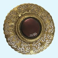 Round Gold-tone Wine Colored Glass Center Brooch Pin