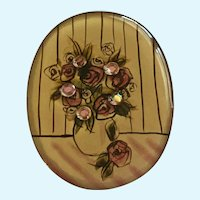 Roses on A Table Rhinestone Picture Brooch Pin