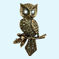 Witty Owl Gold-tone Rhinestone Blue Eyed Owl Pin Brooch