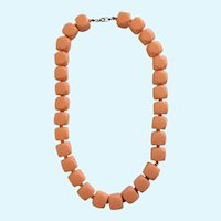 Orange Sherbet Colored Plastic Beaded Necklace