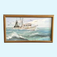 Fishing Trawler at Sea Oil Painting Monogrammed