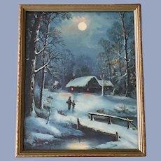 Vintage Framed Print Winters Moonlight Snow Covered Landscape