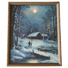 Vintage Framed Print Winters Moonlight Snow Covered Landscape