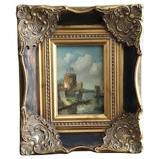 Homes and Windmills on Dutch Canal Oil Painting Unsigned