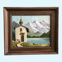 Church in Alps Landscape Oil Painting Mid-Century