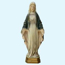 Mid-Century Icon Madonna Mary Religious Statuette Bisque Figurine