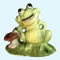 Josef Originals Frog & Ladybug Ceramic Figurine Japan