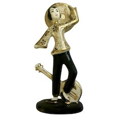 Geo Lefton Asian Lady  Gold-tone Ruan 阮咸 Figurine