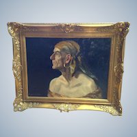 William L. Carqueville (1871-1946) Portrait Figural Oil Painting, Pirate Gypsy, Listed Artist
