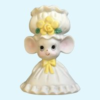 Lefton Candle Holder Girl Mouse Yellow Flower Figurine 542