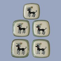 French Poodle Dog Plates Mid-Century Glidden Pottery of New York