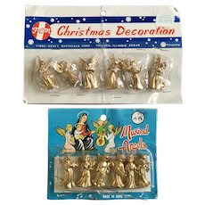 Miniature Golden Angel Figurines for Displays Mid-Century