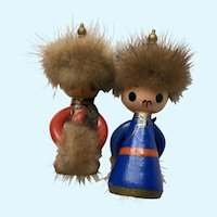 Vintage Mongolian Man and Woman Wooden Figurines with Fur Trim