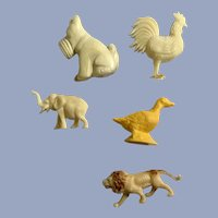 Celluloid & Early Plastic Dog Lion Elephant Rooster Duck Animals Group Figurines