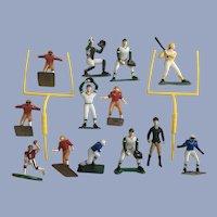 Vintage Boys Sport Cake Toppers Football & Baseball Plastic Figurines Toys