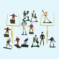 Vintage Boys Sport Cake Toppers Football & Baseball Plastic Figurines Toys