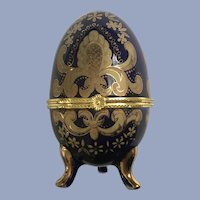 Easter Cobalt Blue Gold-Tone Hinged Footed Egg Trinket Box Transferware