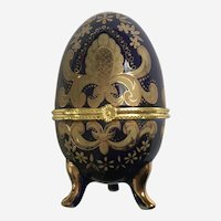 Easter Cobalt Blue Gold-Tone Hinged Footed Egg Trinket Box Transferware