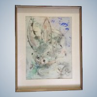 Bunny Rabbit  Alice in Wonderland Mixed Media Watercolor Painting
