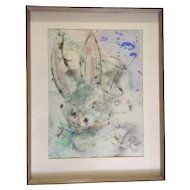 Bunny Rabbit Surrealism Alice in Wonderland Mixed Media Watercolor, Oil and Ink Painting Works on Paper