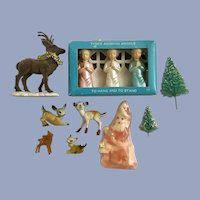 Late Mid-Century Christmas Decorations Santa Deer Angels Trees Group