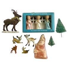 Late Mid-Century Christmas Decorations Santa Deer Angels Trees Group