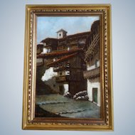 Mico Zayas, Oil Over Gold on Masonite Painting Landscape Spanish Villa Spain Artist