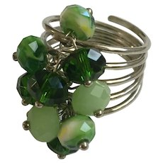 Silver-tone Green Beaded Ladies Ring Size 10-1/2