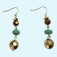 Faux Turquoise and Gold-tone Bead Fish Hook Earrings for Pierced Ears