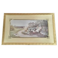 Beautiful Golden Picture Frame with Elegant Mat and Print
