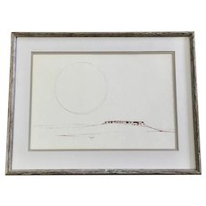 Minimalist Desert Mesa Landscape Pen and Ink Watercolor Painting Signed by Unknown Artist