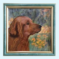 Deborah Burdin, Golden Retriever dog portrait oil painting signed by artist