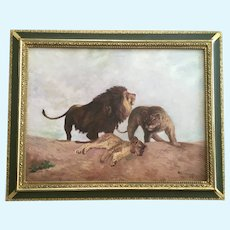 Ollie Larrick, A Lion and His Pride, 1909 Oil Painting