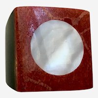 Faux White Mother-of Pearl Black & Red Square Ring 7-1/2