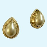 Faux Pearl  Gold-Tone Teardrop Shaped Pierced Earrings