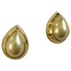 Faux Pearl  Gold-Tone Teardrop Shaped Pierced Earrings