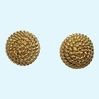 Monet Gold-Tone Rope Swirl Design Pierced Earrings