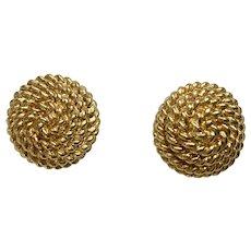 Monet Gold-Tone Rope Swirl Design Pierced Earrings