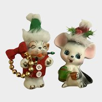 Mid-Century Christmas Santa Cat & Mouse with Embellishments Figurines