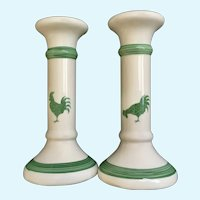 White & Green Roosters Candlestick Holders Made in Taiwan 1980's